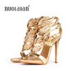 Gold leaf flame gladiator sandal patent leather high heels