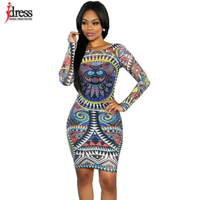 IDress Vestido Women Dress Long Sleeve Geometric Print Dress Bandage Dress