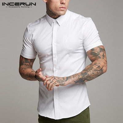 INCERUN Short Sleeve Solid Summer Breathable Muscle Slim Fit Shirt S-5XL