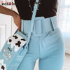 InstaHot Casual High Waist Pencil Belt Ankle Length Blue Zipper Suit Trousers Straight Leg Sashes