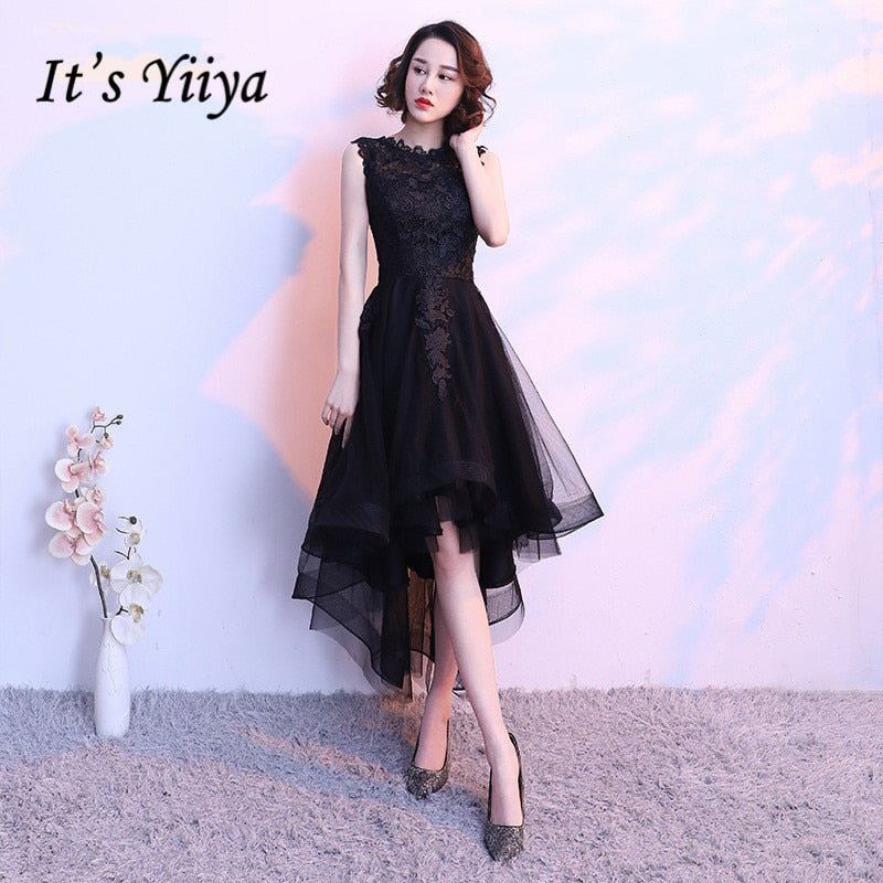1ee9c81d5016 It's YiiYa Black Sleeveless Cut-Out Lace Cocktail High-Low Tea Length  Formal Dress