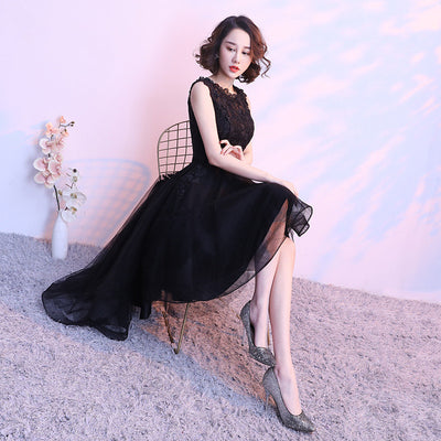 It's YiiYa Black Sleeveless Cut-Out Lace Cocktail High-Low Tea Length Formal Dress