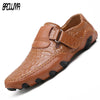 Italy Handmade Leather Loafers Breathable Driving Dress Shoes Slip On Moccasins