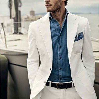 Ivory 2 Pieces Linen Tuxedos Slim Fit Suits Casual Blazer