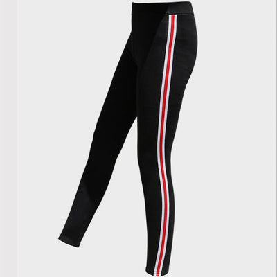 JIANWEILI Height Waist Casual Striped Gothic Fitness Leggings