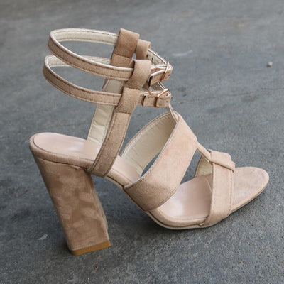 JOKSD Sexy Suede Sandals Thin High Heels Gladiator Bandage Cross Tied Fashion