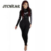 JTCWEAR Autumn Long Sleeve Skinny Jumpsuits Stretch Tight Sexy Lady Fitted Rompers