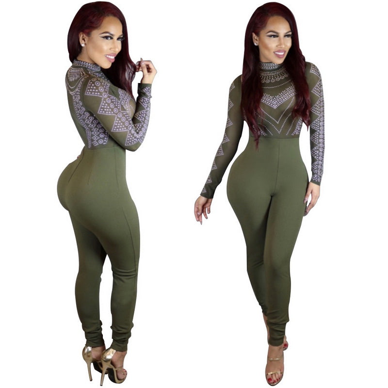60670901456f JTCWEAR Autumn Long Sleeve Skinny Jumpsuits Stretch Tight Sexy Lady Fitted  Rompers