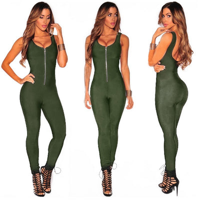 JTCWEAR Front Zipper Tank Back Sexy Rompers Tight Neck Sleeveless Elastic Sexy Overalls