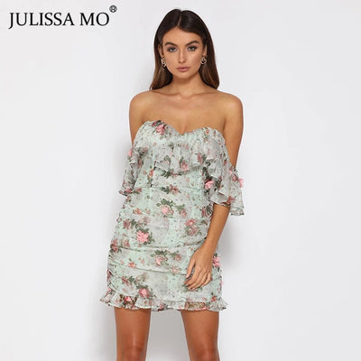 JULISSA MO Sexy Off Shoulder Floral Print Ruffles Sleeve Bodycon Short Dress