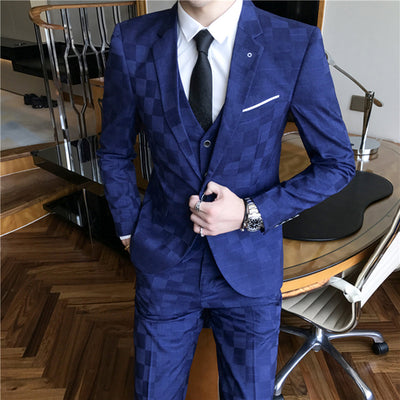 Jacket+Pant+Vest Men 3 Pieces Slim Fit Trousers Suits Set Blazers Jacket M-3XL