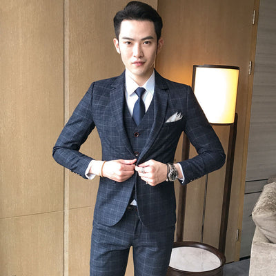 ( Jacket + Vest + Pants ) Men's Three-piece Male Formal Business Casual Suits