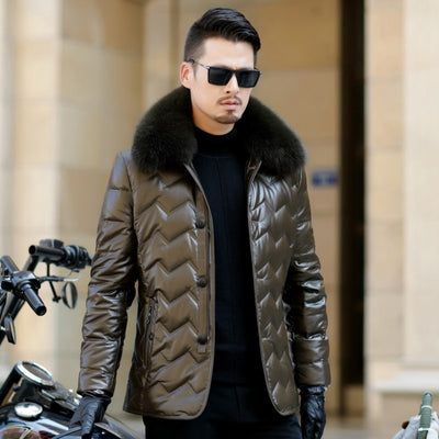 Jaqueta Couro Engine Leather Parka Winter Down Sheep Coats Large Size Outerwear Coat