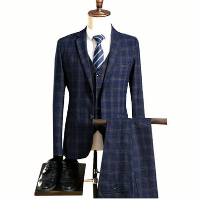 JinXuanYa custom made Tweed Retro British style tailor slim fit suits for men 3 piece size S-5XL