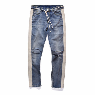 KANYE WEST Fear of god Knee Hole Side Zipper Slim Distressed Jeans