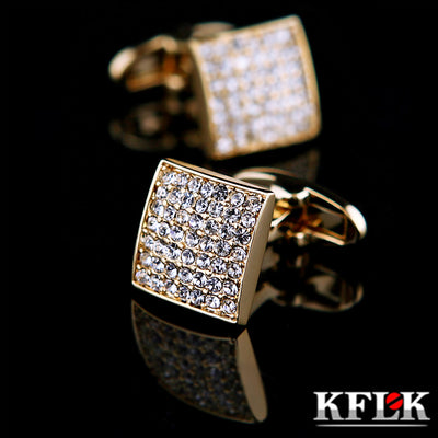 KFLK Jewelry french shirt Brand Cuffs link Button Gold High Quality Luxury Wedding