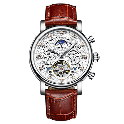 KINYUED Skeleton Automatic Sun Moon Phase Waterproof Tourbillon Mechanical Watches
