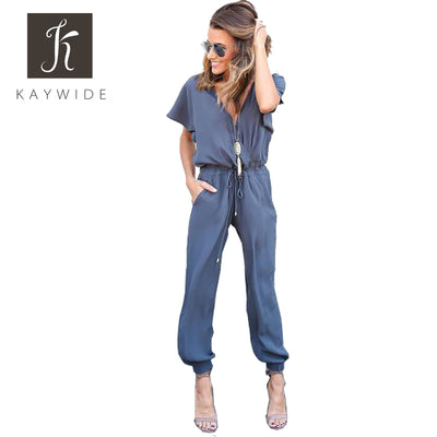 Kaywide Sexy V Neck Pleated Waist Pocket Jumpsuit Loose Cross Short Sleeve S-XL