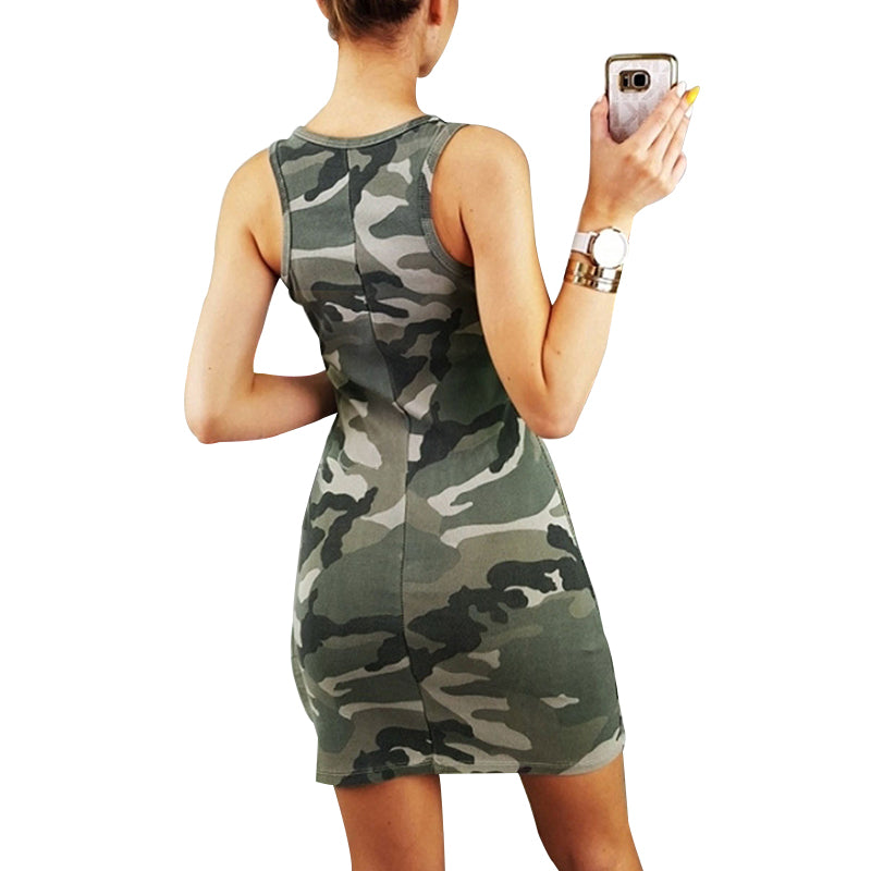 f427a358c25a Knowing me Sexy Sleeveless Camouflage Summer Dress Pencil Women Printed
