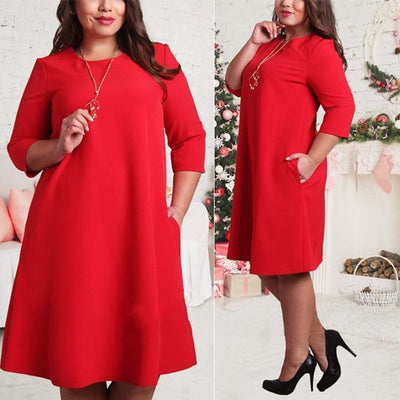 Autumn Pockets Green Red Fashion Plus Size Dress L - 6XL