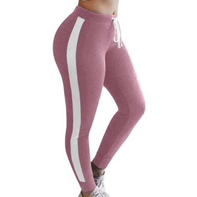 LAAMEI High Waist Trouser Drawstring Waist Skinny Grey Ribbed Knit Striped Sweatpants Legging