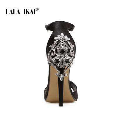 LALA IKAI  Crystal Glitter High Heels Sandals Sexy Shoes