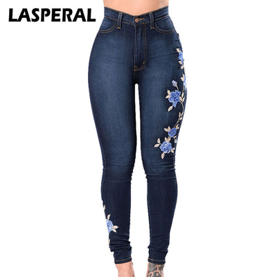 LASPERAL Flower Embroidered Women Elastic Pencil Denim Pant