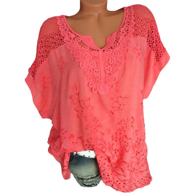 LASPERAL Sexy Lace Hollow Tunic Sleeve Shirt Plus Size 5XL