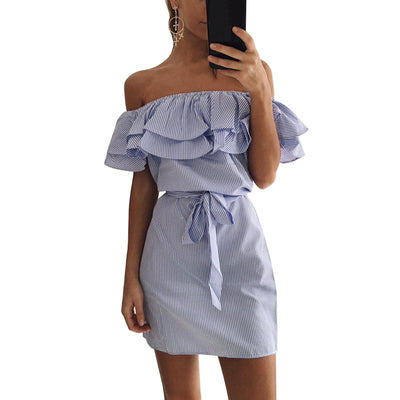 LASPERAL Women Casual Summer Dress Striped Ruffle Party Dress