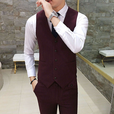 LEFT ROM Autumn business stripe Long sleeve high quality suits/coat Vest trousers S-3XL
