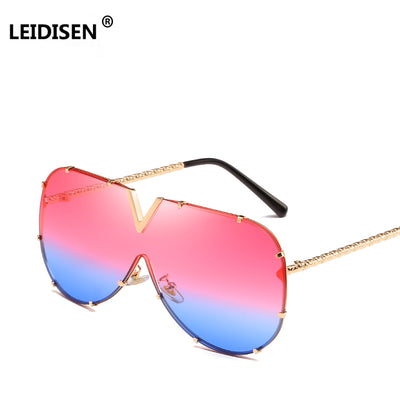 LEIDISEN One Piece Designer High Quality Over-sized For Sunglasses Metal UV400 Mirror