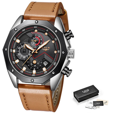 LIGE Fashion Chronograph Luxury Leather Quartz Watch Men Military Waterproof Sport watch