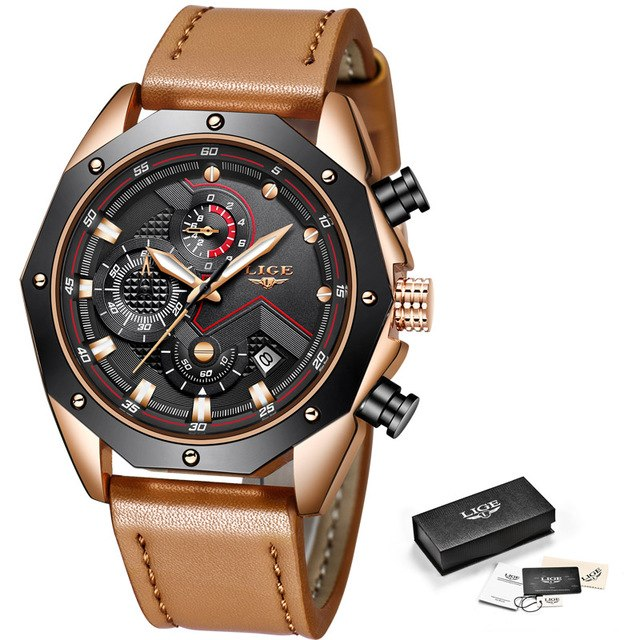 410f3fcf0a6 LIGE Fashion Chronograph Luxury Leather Quartz Watch Men Military  Waterproof Sport watch