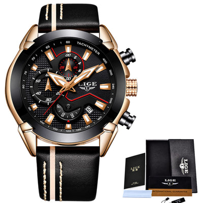 LIGE Mens Watches Top Brand Luxury Quartz Gold Watch Leather
