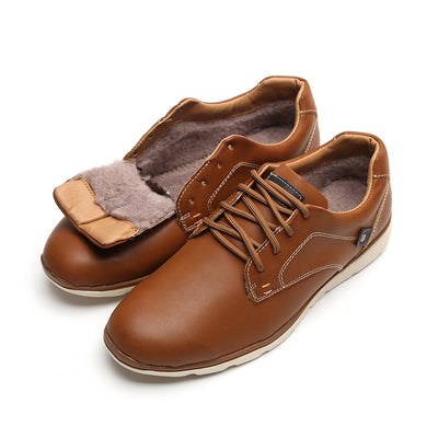 LINGGE Leather Lace Up Casual Shoes For Men