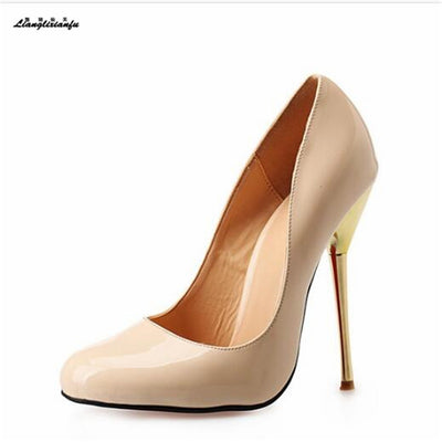 LLXF Stiletto Metal thin heels women's Red/Nude dress shoes Pantent Leather pumps