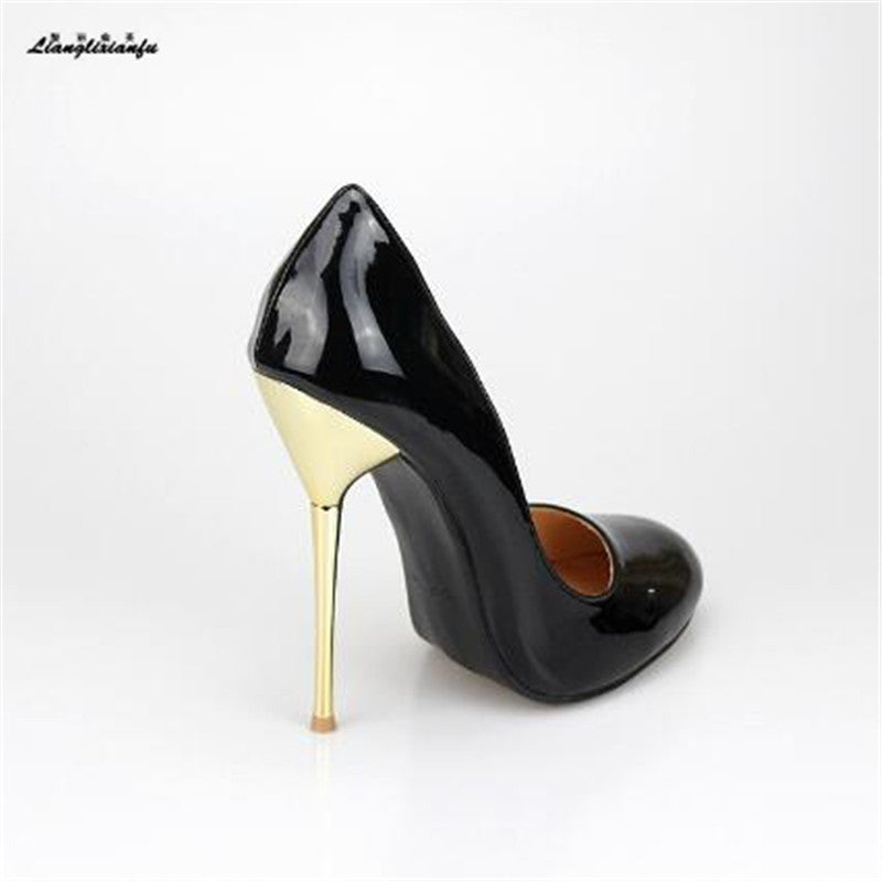 a7678d392a LLXF Stiletto Metal thin heels women's Red/Nude dress shoes Pantent Leather  pumps