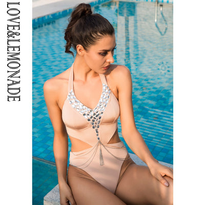 LOVE & LEMONADE  Nude Holder Bead Silver Chain Bodysuit TB 10225
