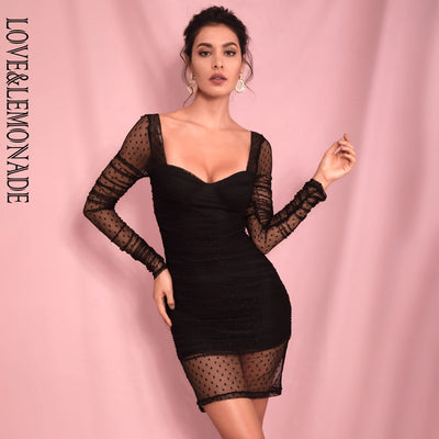 LOVE&LEMONADE Sexy Black Square Collar Long Sleeve Bodycon Dot Net Smock Party Mini Dress