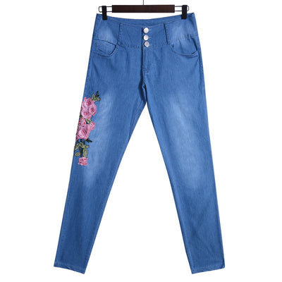 Laamei Stretch High Waist Skinny Embroidery Floral Holes Denim Pants Trousers Jeans