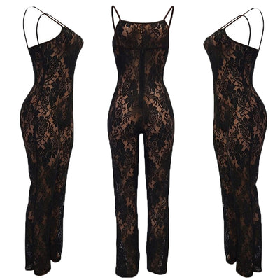 Lace Jumpsuit Rompers Clubwear Playsuit Hollow Out Party Chiffon Outweaer Clothes