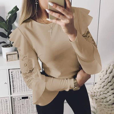 Lace Patchwork Blouse Elegant Work Ruffle Long Sleeve Women