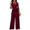 Lace Rompers Jumpsuit Elegant 3/4 Long Sleeves Wide Leg  Tracksuit Long Pants