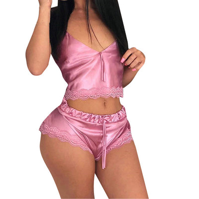 Sexy Silk Satin Pajama Set Sleeveless V-neck Sleep Set Lace Set Summer Sleepwear