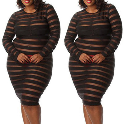 Ladies See-Through Club wear Bodycon Short Striped Dress Plus Size XL-4XL