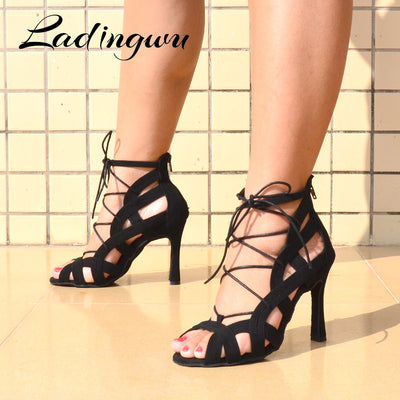 Ladingwu Brands Latin Salsa Brown Black Red Suede Professional Ballroom Dance Shoes