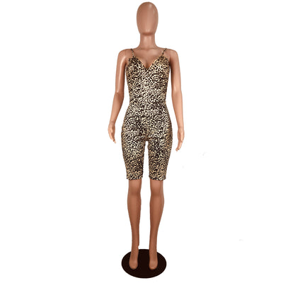 Leopard Printed Slim Overalls Spaghetti Strap Deep V-neck Backless Bodycon Rompers