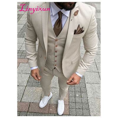 Linyixun Latest Coat Pant Designs Beige Slim Fit 3 Piece Style Suits