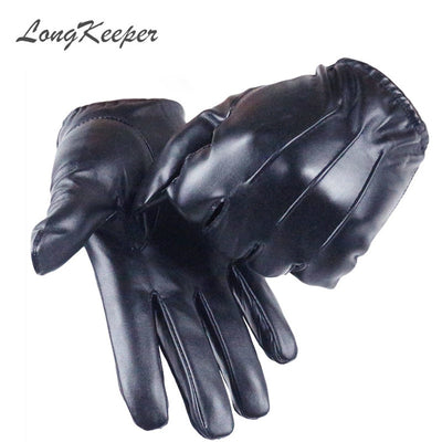 Long Keeper Luxurious PU Leather Winter Driving Warm Cashmere Tactical Black Gloves