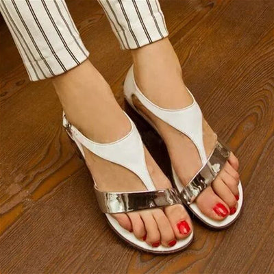 Low Flat Gladiator T-Strap Rome Sandals Cover Heel Buckle Strap Concise Mixed Colors Bohemian Shoes